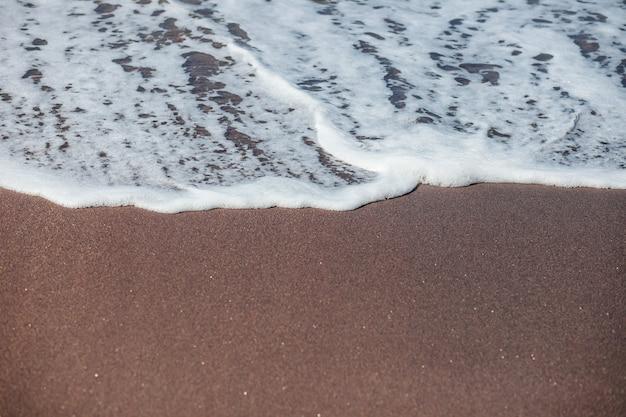 Волны плещутся по черному песку