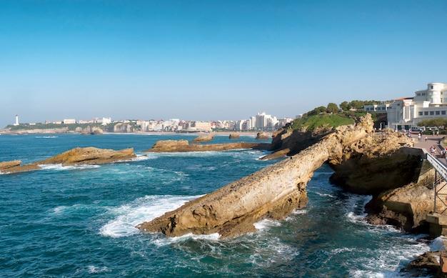 Waves ocean of the biarritz beach