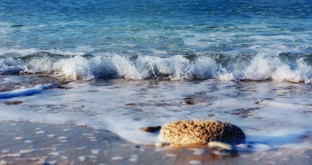 青い空を背景に海の風景の波
