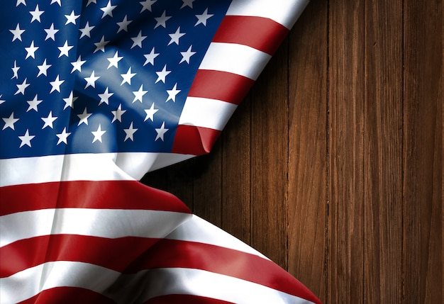 Waving american flag united states of america on wood texture