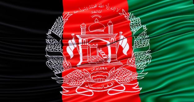 カラフルな国旗アフガニスタン、アフガニスタンの驚くべき旗を振って、.3dレンダリング