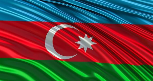 Развевающийся красочный национальный флаг азербайджана, удивительный флаг азербайджана, 3d визуализация