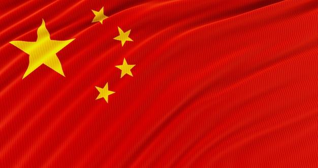 カラフルな中国の国旗、中国の素晴らしい国旗、.3dレンダリングを振る