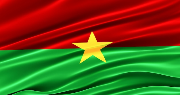 Waving fabric flag of burkina faso, silk flag of burkina faso.