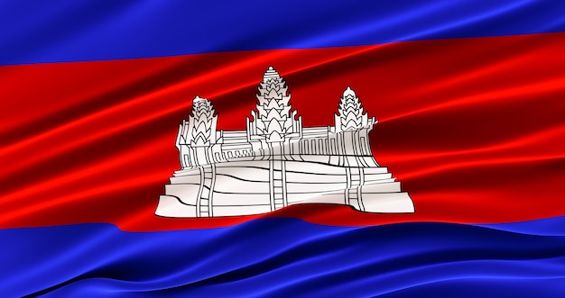 Waving fabric flag of cambodia, silk flag of cambodia.