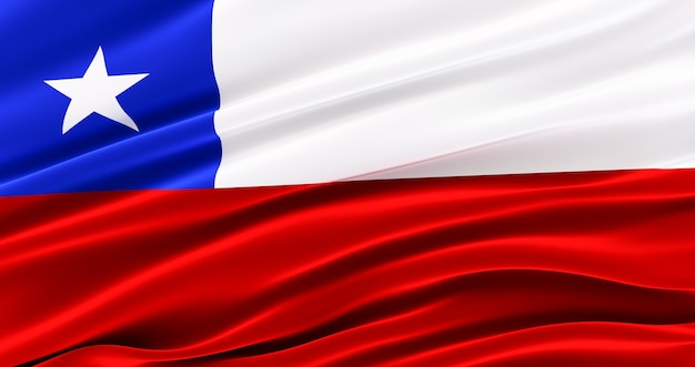 Waving fabric flag of chile, silk flag of chile.