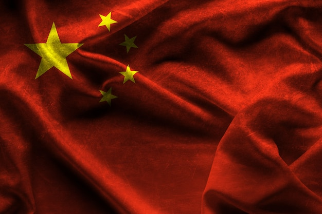 Waving fabric flag of china background and texture