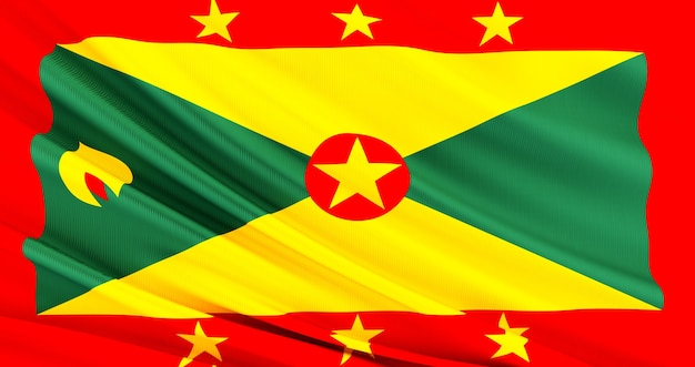Waving fabric flag of grenada, silk flag of grenada.