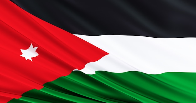 Waving fabric flag of jordan, silk flag of jordan, independence day,
