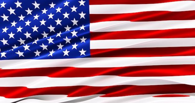手を振るアメリカの国旗、アメリカのシルクの旗、アメリカ合衆国、