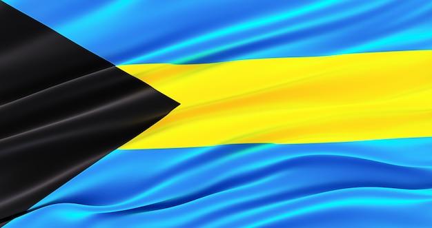 Развевающийся флаг ткани багамских островов, шелковый флаг багамских островов.
