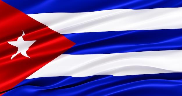 쿠바의 패브릭 깃발을 흔들며, 쿠바의 실크 깃발.