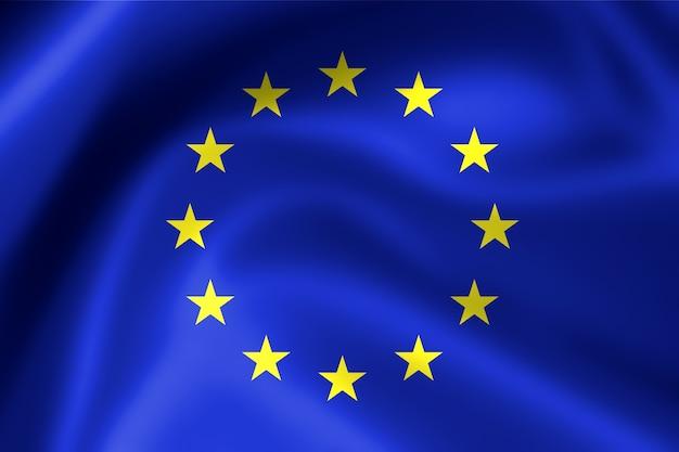 유럽 연합, eu의 패브릭 깃발을 흔들며