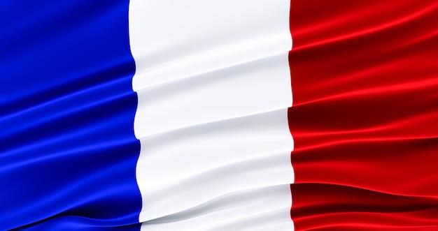 フランス語のファブリックフラグを振る