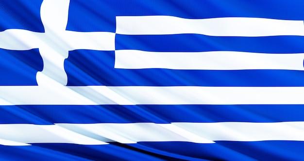 ギリシャの生地の旗、ギリシャのシルクの旗を振っています。