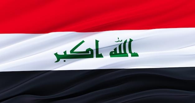 イラクの生地の旗、イラクのシルクの旗を振っています。