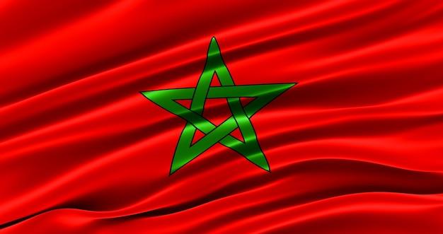 모로코의 패브릭 깃발, 모로코의 실크 깃발을 흔들며.