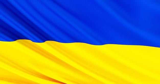 Развевающийся тканевый флаг украины, шелковый флаг украины.