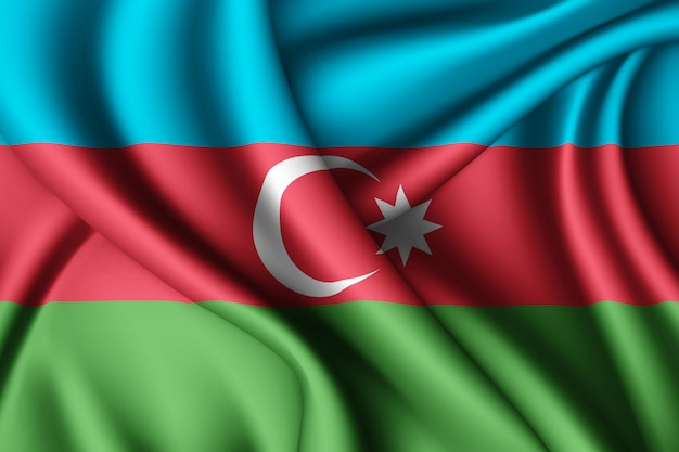 Waving flag of azerbaijan
