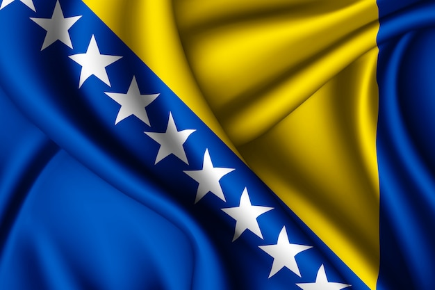 Waving flag of bosnia