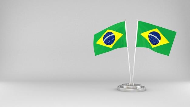 Waving flag of brazil 3d render background