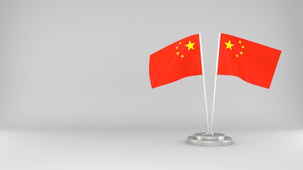 Waving flag of china 3d render background