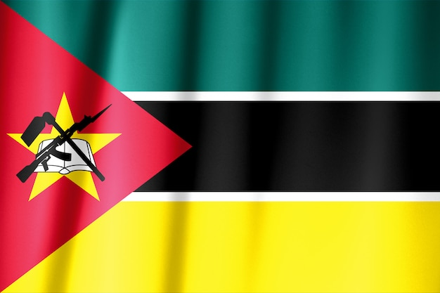 Waving flag of mozambique. flag has real fabric texture.