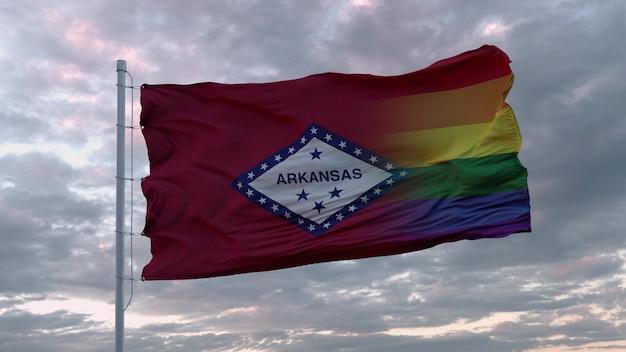 아칸소 주와 lgbt 무지개 깃발의 깃발을 흔들며