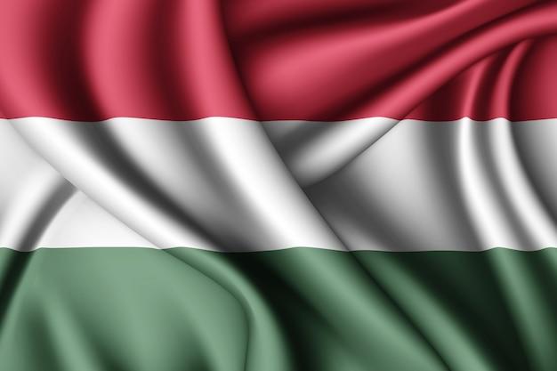 ハンガリーの旗を振っています。