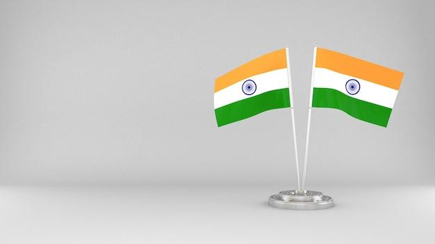 Развевающийся флаг индии 3d визуализации фона