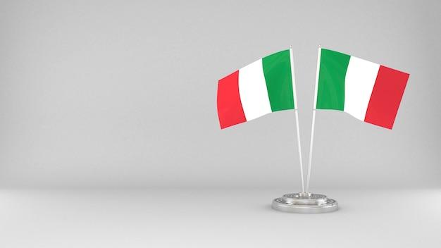 Развевающийся флаг италии 3d визуализации фона