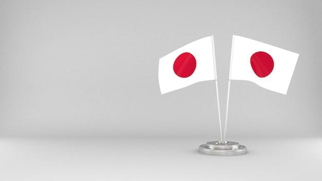 Развевающийся флаг японии 3d визуализации фона