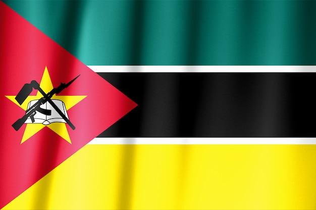 Развевающийся флаг мозамбика. флаг имеет реальную фактуру ткани.