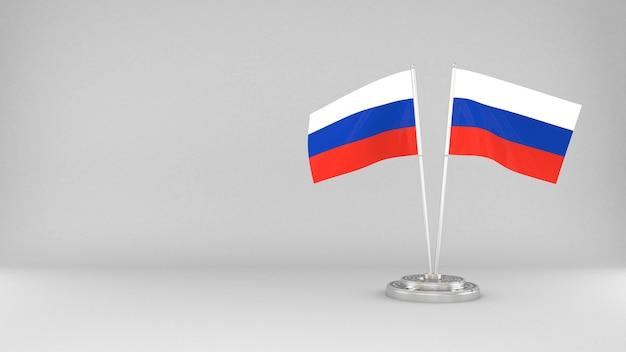 Развевающийся флаг россии 3d визуализации фона