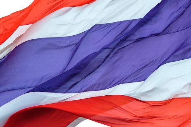 白い背景にタイの旗を振る