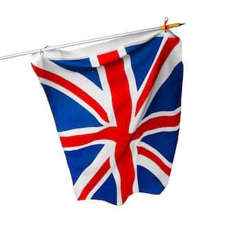 Развевающийся флаг соединенного королевства, изолированные на белом фоне