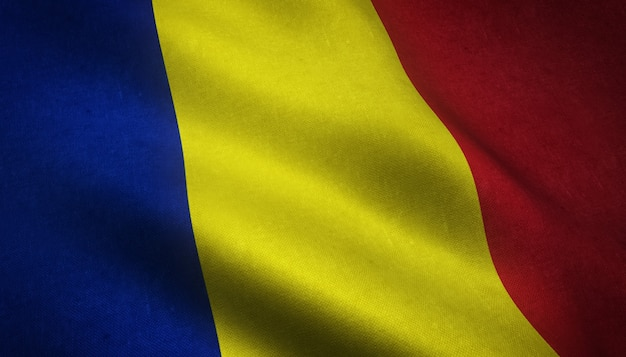 The waving flag of romania
