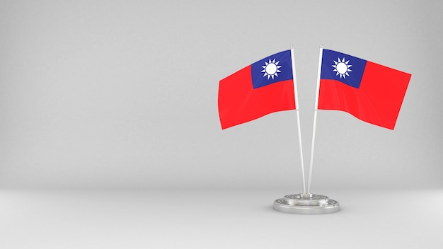 Waving flag of taiwan 3d render background
