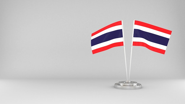 Waving flag of thailand 3d render background