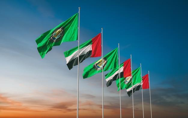 Развевающиеся флаги совета сотрудничества стран персидского залива