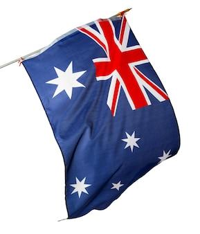 Waving national flag of australia isolated on white background