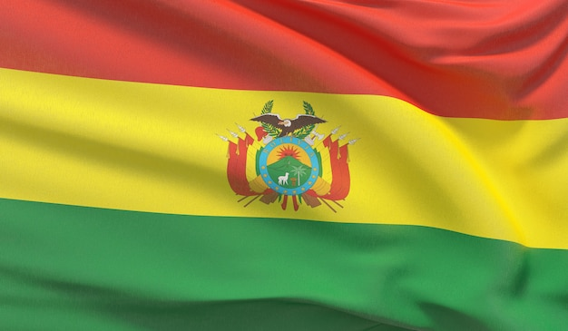 Waving national flag of bolivia. waved highly detailed close-up 3d render.