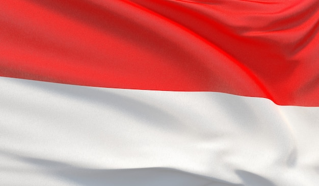 Waving national flag of indonesia. waved highly detailed close-up 3d render.
