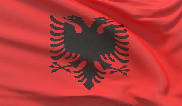 알바니아의 국기를 흔들며. 매우 상세한 클로즈업 3d 렌더링을 흔들었습니다.