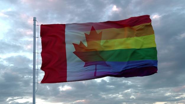 캐나다와 lgbt 무지개 깃발 배경의 국기를 흔들며