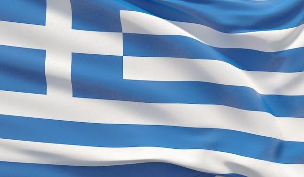 Развевающийся национальный флаг греции. махнул высокодетализированный крупный план 3d-рендеринга.