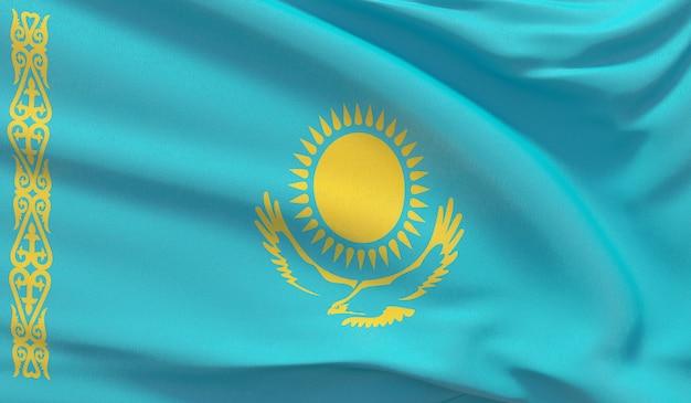 Развевающийся государственный флаг казахстана. махнул высокодетализированный крупный план 3d-рендеринга.