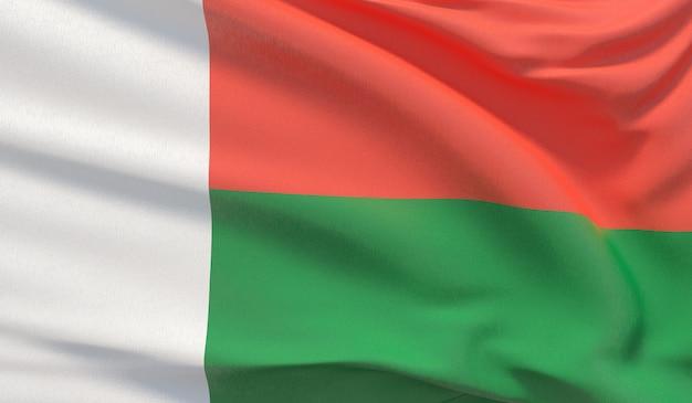 마다가스카르의 국기를 흔들며. 매우 상세한 클로즈업 3d 렌더링을 흔들었습니다.