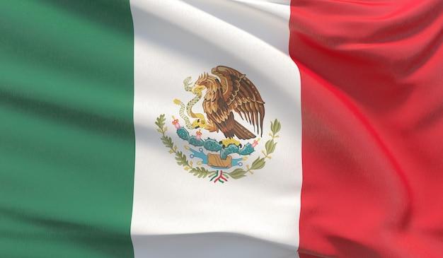 Развевающийся национальный флаг мексики. махнул высокодетализированный крупный план 3d-рендеринга.