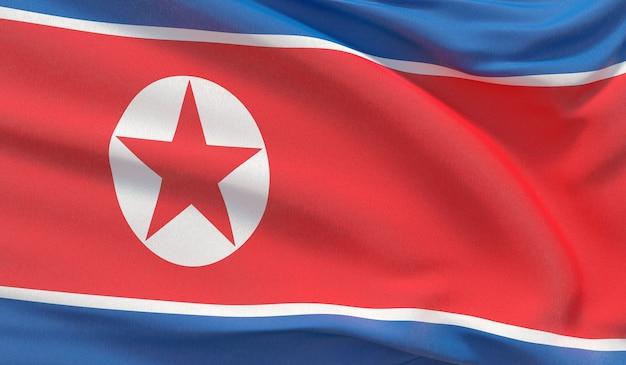 북한의 국기를 흔들며. 매우 상세한 클로즈업 3d 렌더링을 흔들었습니다.